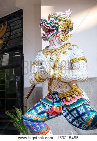 Giant stucco work decorated of Sala Chalermkrung Royal Theatre Bangkok Thailand.