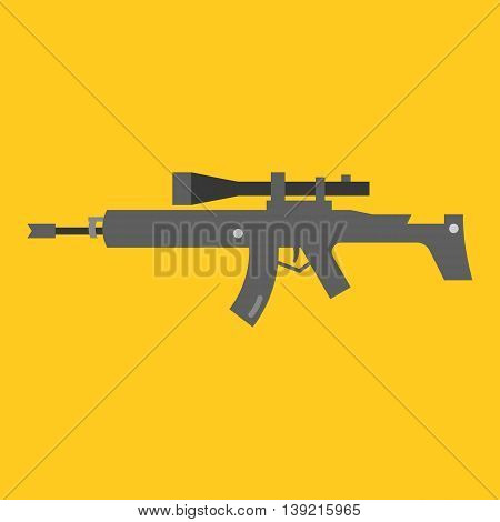 Vector auto rifle, flat design on yellow background