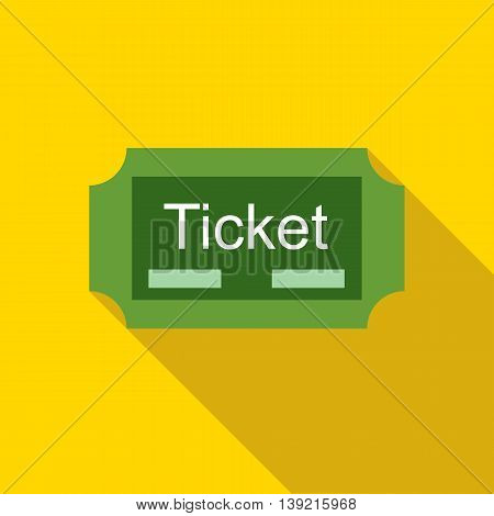 Green ticket icon in flat style on a yellow background