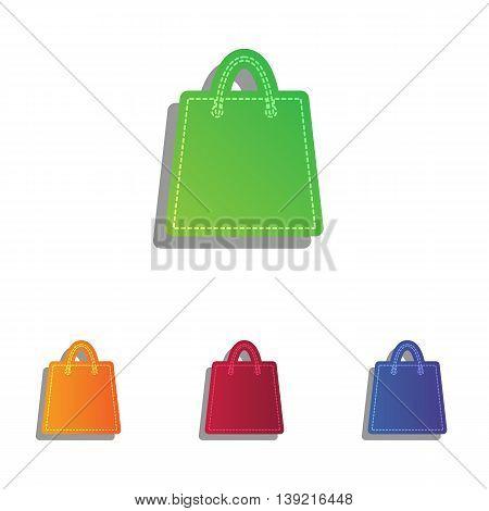Shopping bag illustration. Colorfull applique icons set.