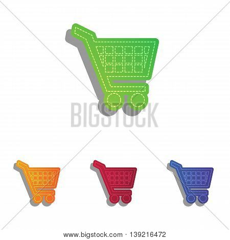 Shopping cart sign. Colorfull applique icons set.