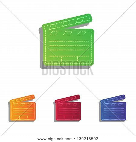 Film clap board cinema sign. Colorfull applique icons set.