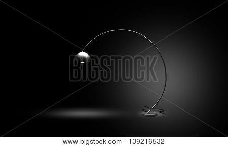 Custom Designed round shaped floor lamp on the black background. 3D Illustration.
