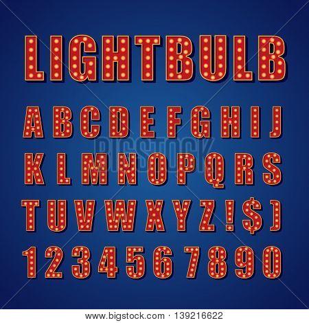 Retro Lightbulb Alphabet Vector Font Type letters