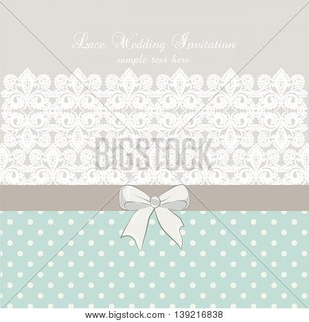 Vector lace crochet card background with bow and retro dotted design. Wedding invitation or greeting card design with lace handmade doily pattern. Beautiful luxury postcard ornate page cover ornamental vector illustration