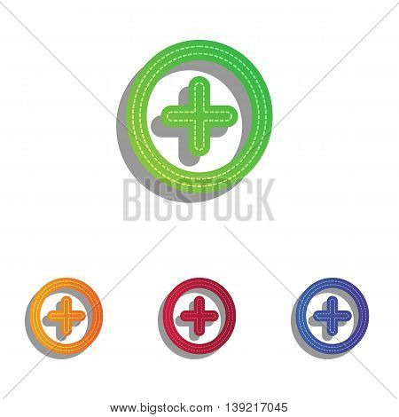 Positive symbol plus sign. Colorfull applique icons set.