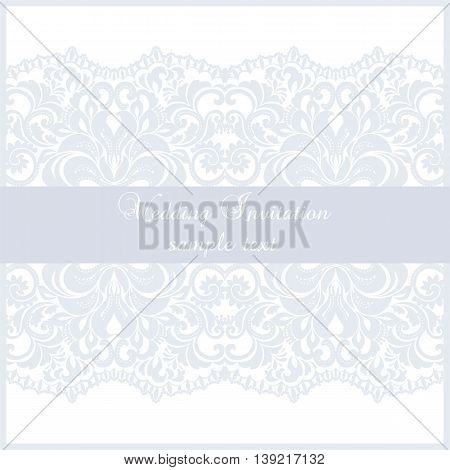 Wedding Lace card. Elegant lace frame vector greeting card or invitation. Template for wedding invitation or greeting card with lace fabric background