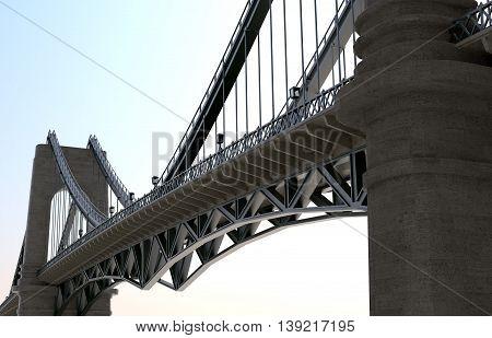 Stown road Bridge with lamps 3D Illustration