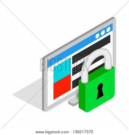 Computer monitor and padlock icon in isometric 3d style on a white background
