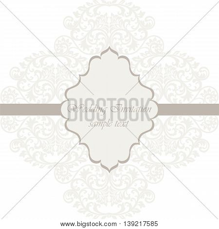 Wedding Lace card. Elegant lace frame vector greeting card or invitation. Template for wedding invitation or greeting card
