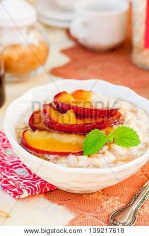 Creamy Oat Porridge With Honey Apples