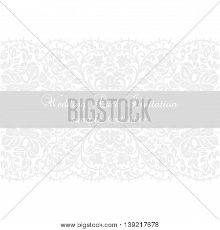 Vector Lace Invitation card with lace floral ornament. Delicate lace design card for wedding ceremonies anniversary party events. White color