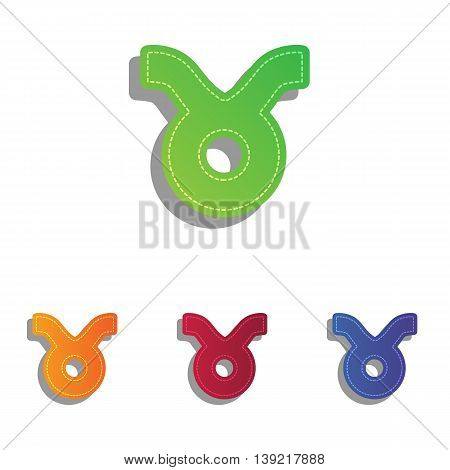 Taurus sign illustration. Colorfull applique icons set.