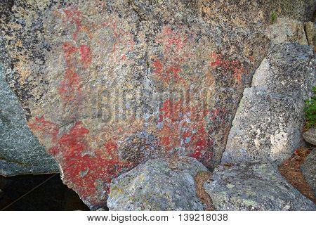 Weathered Paleolithic Rock Paintings At Faangsjoen In Sweden