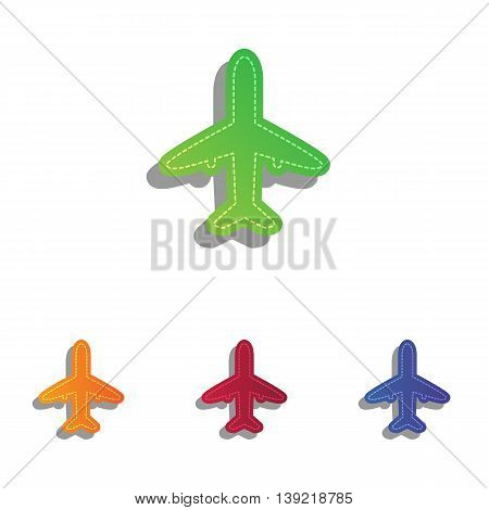Airplane sign illustration. Colorfull applique icons set.