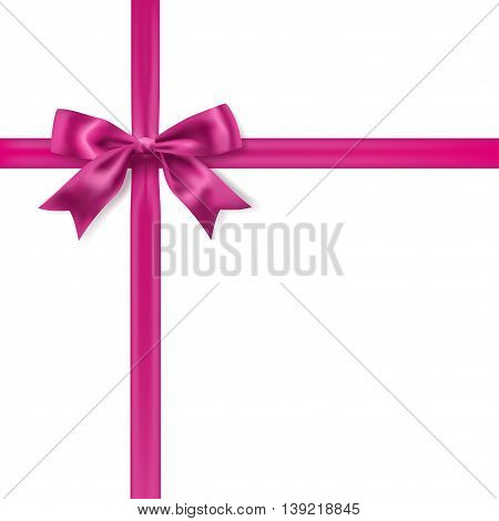 silk pink bow decoration on white. vector design element