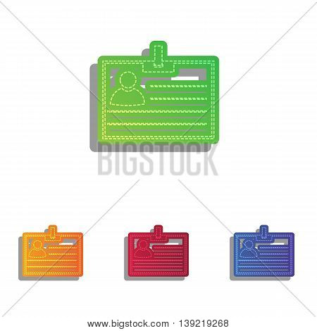 Id card sign. Colorfull applique icons set.