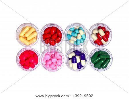 colorful medicine pill add capsule on white background