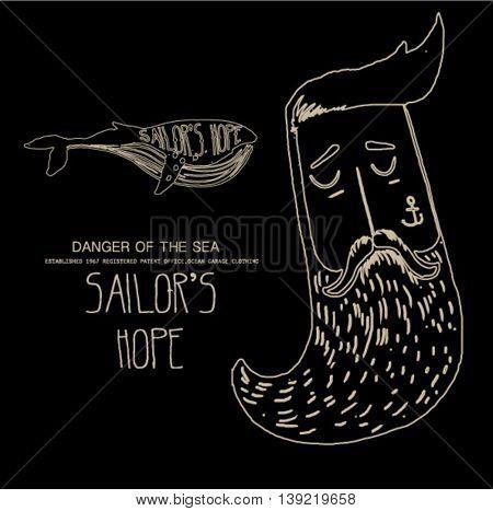 vintage sailor whale illustration