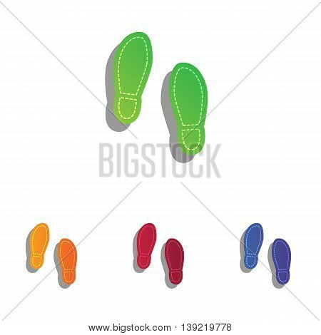 Imprint soles shoes sign. Colorfull applique icons set.