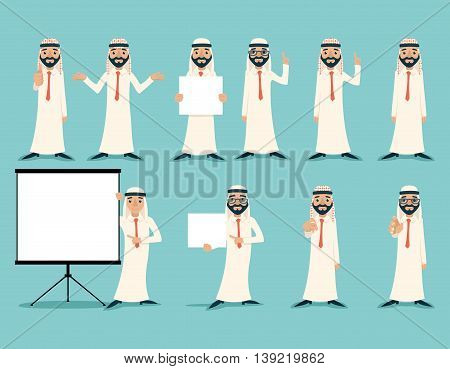 Arab Businessman Retro Vintage Successful Working Poses Gesture Sign Poster Set Traditional National Muslim Clothes Cartoon Characters Icon Stylish Background Retro Cartoon Design Vector Illustration