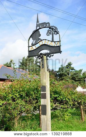 ALDHAM ESSEX UK 31 Aug 2014: Traditional village sign Village Sign