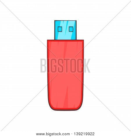 Red USB flash drive icon in cartoon style on a white background