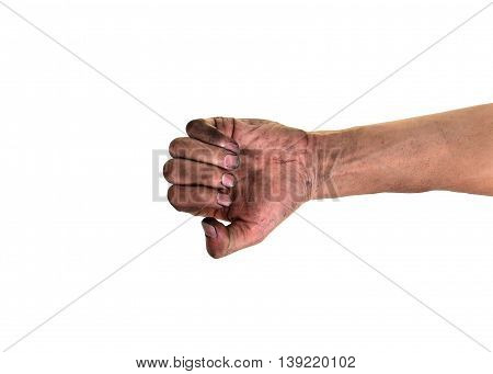 Dirty fingernails, His hands are dirty with dirt lodged in the nails, concept for pathogens bacteria under nails