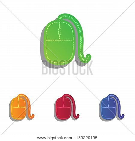 Mouse sign illustration. Colorfull applique icons set.