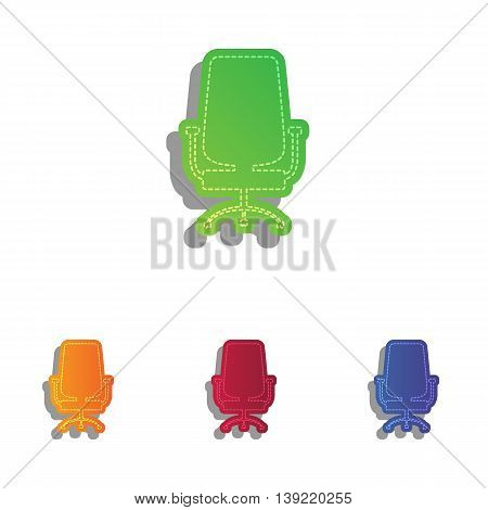 Office chair sign. Colorfull applique icons set.