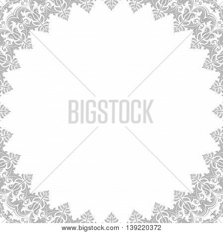 Classic vector square frame with arabesques and orient elements. Abstract fine ornament with place for text. Light silver pattern