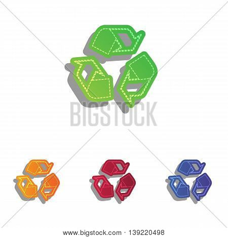 Recycle logo concept. Colorfull applique icons set.