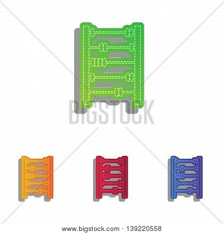 Retro abacus sign. Colorfull applique icons set.