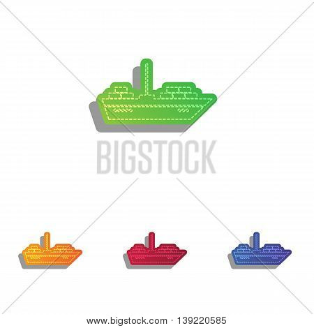 Ship sign illustration. Colorfull applique icons set.