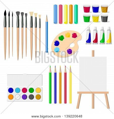 A set of drawing tools: an easel, paints, brushes, pencils, crayons, isolated objects on white background vector illustration. Painter tools isolated on white. Art objects icons.
