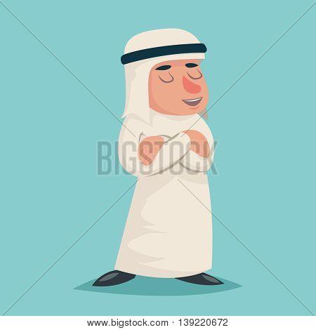 Smiling Talking Arab Businessman Wise Character Symbol Icon Stylish Background Retro Cartoon Design Vector Illustration