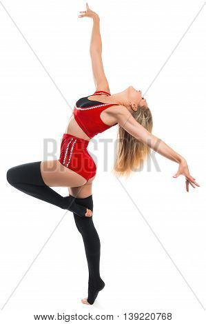Portrait of a beautiful young sports woman on a white background. Gymnast