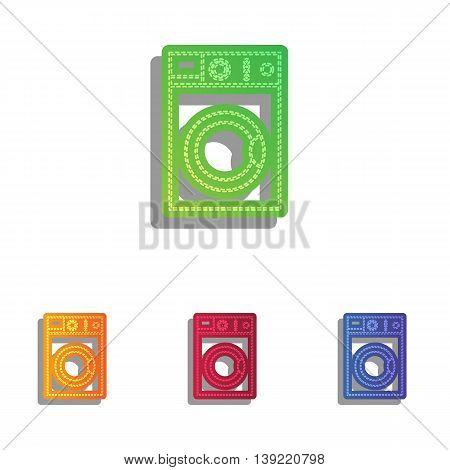 Washing machine sign. Colorfull applique icons set.