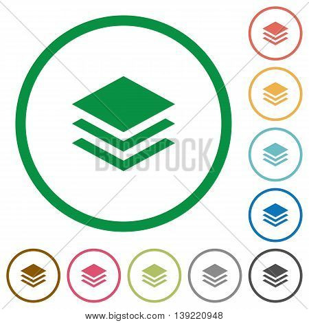 Set of layers color round outlined flat icons on white background