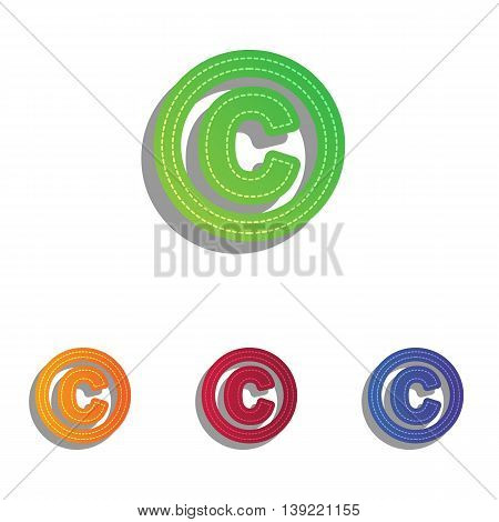 Copyright sign illustration. Colorfull applique icons set.