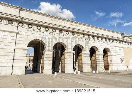 VIENNA, AUSTRIA, JULY 2,2016: Hofburg Palace Gate in the centre of Vienna, Austria. Part of the palace forms the official residence and workplace of the President of Austria.