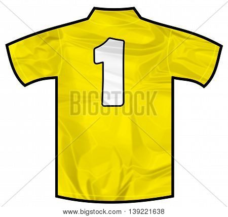 Number 1 one yellow sport shirt as a soccer, hockey, basket, rugby, baseball, volley or football team t-shirt. Like brazil national team
