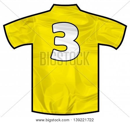 Number 3 three yellow sport shirt as a soccer, hockey, basket, rugby, baseball, volley or football team t-shirt. Like brazil national team