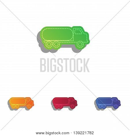Car transports sign. Colorfull applique icons set.
