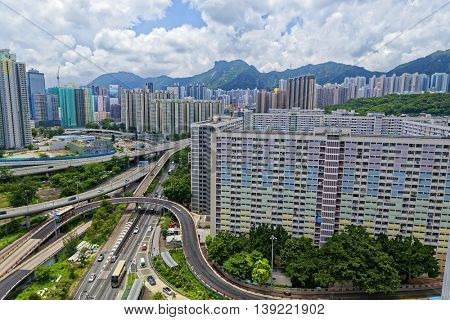 hong kong public estate with landmark lion rock