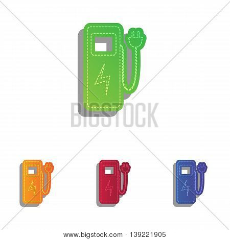 Electric car charging station sign. Colorfull applique icons set.