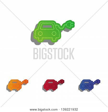 Eco electric car sign. Colorfull applique icons set.
