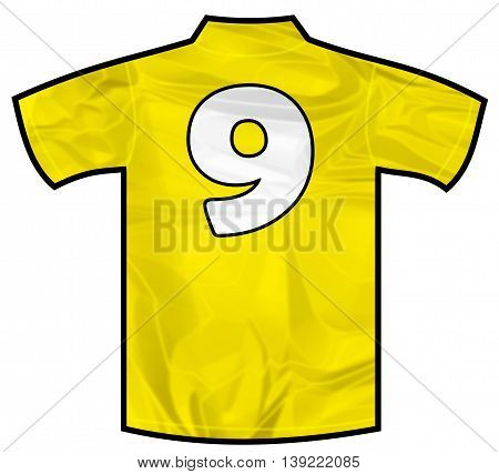 Number 9 nine yellow sport shirt as a soccer, hockey, basket, rugby, baseball, volley or football team t-shirt. Like brazil national team