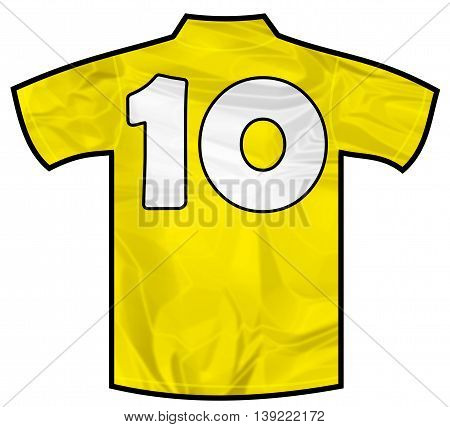 Number 10 ten yellow sport shirt as a soccer, hockey, basket, rugby, baseball, volley or football team t-shirt. Like brazil national team
