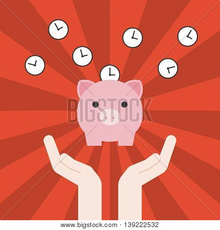 Vector save time concept hand,clock with pig banking with sun burst background, flat design